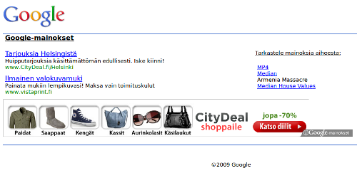 Google AdSense -mainoslinki
